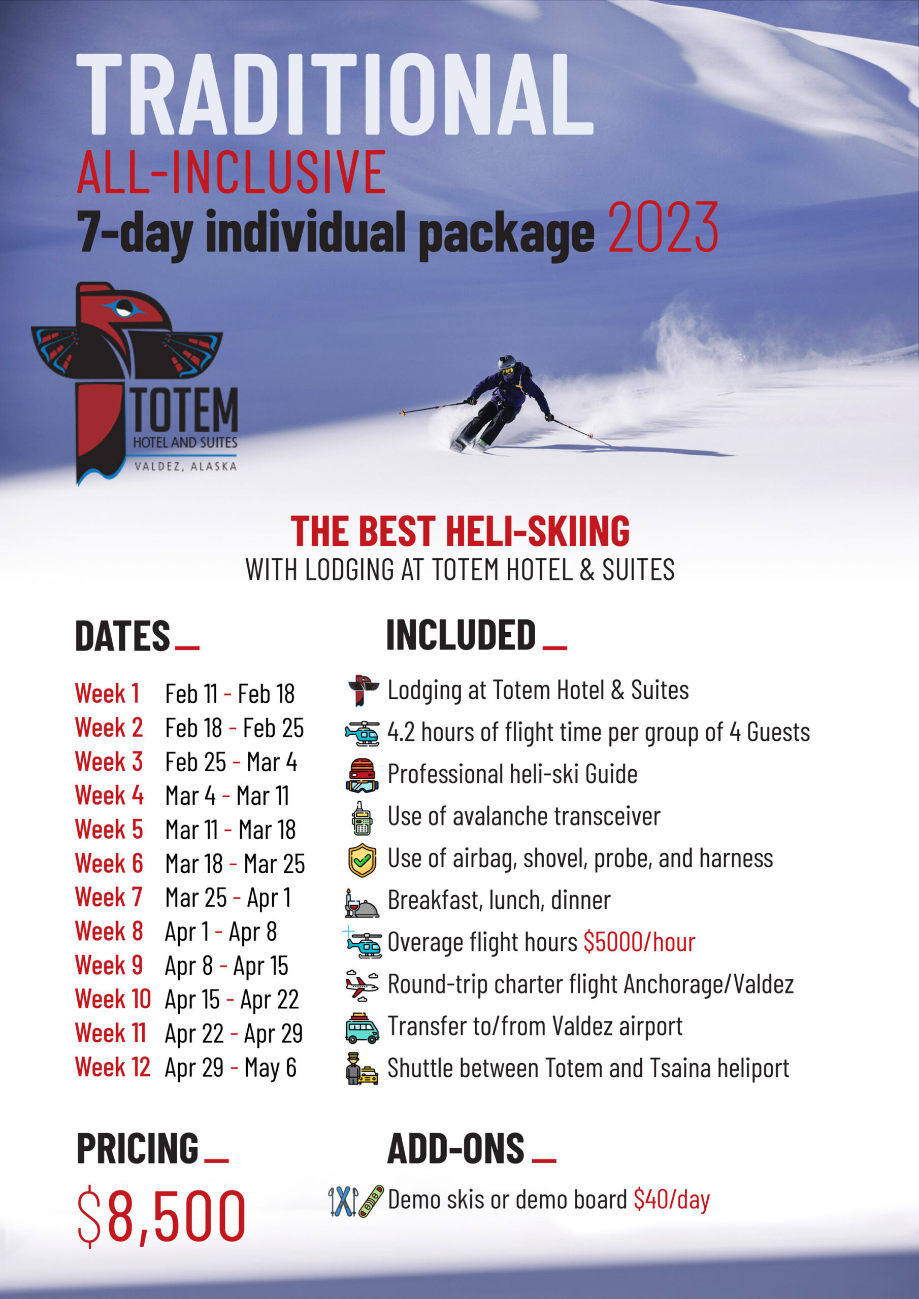 ALL INCLUSIVE TRADITIONAL PACKAGE